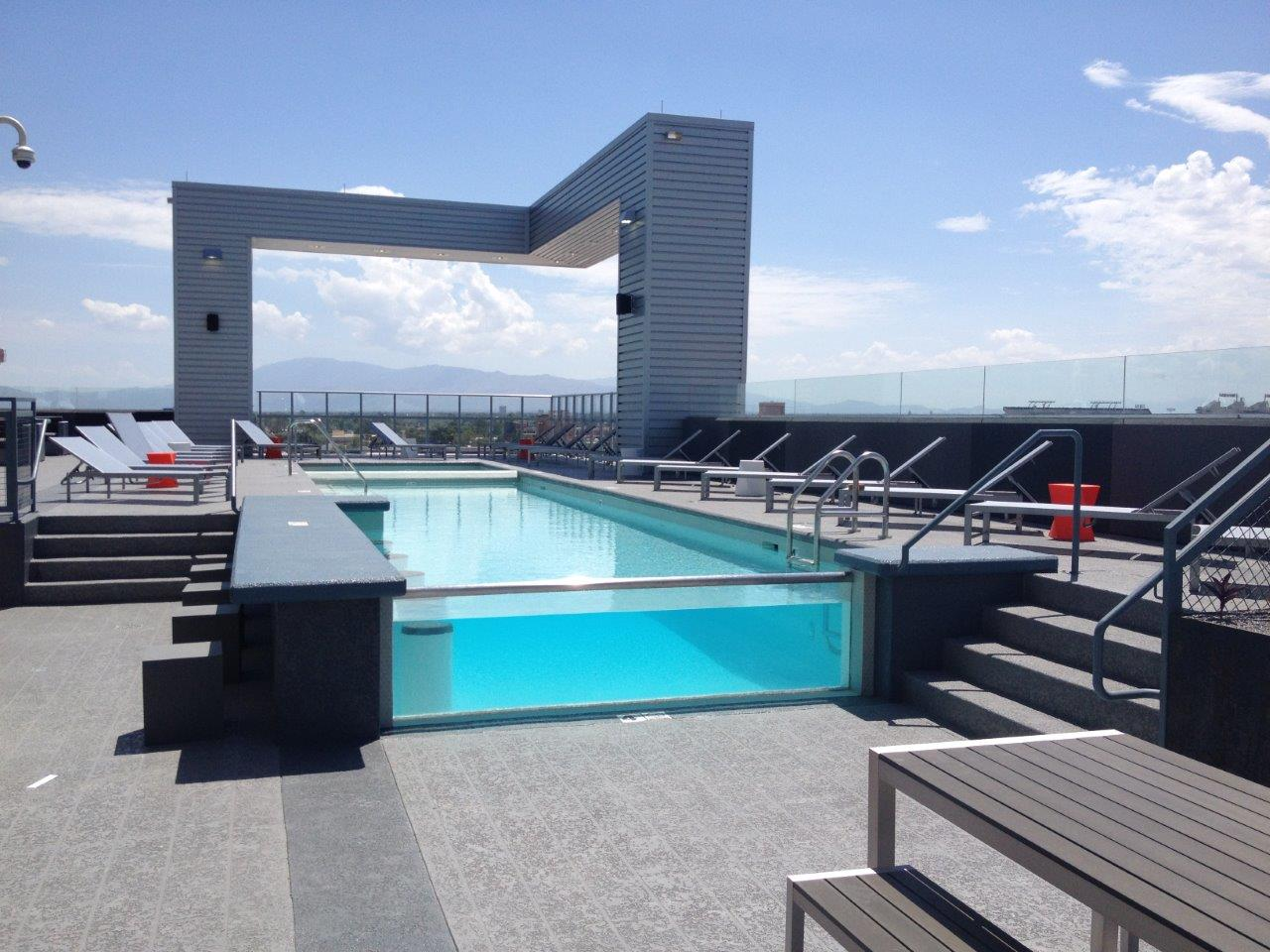 U Of A Rooftop Pool Glass Wall
