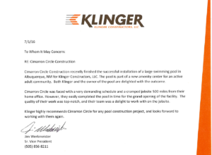 Klinger praises Cimarron for pool construction project