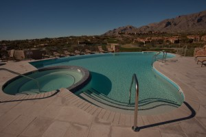 Gracious curves of the new pool at the Hacienda del Sol Resort in Tucson - Built by Cimarron Circle