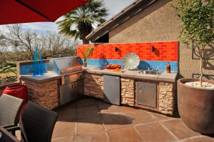 Outdoor kitchen with BBQ dishwasher and sink