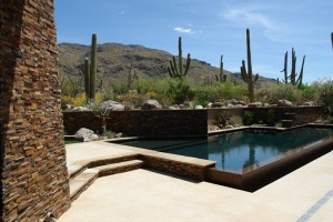 Geometric pool with flagstone deck